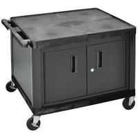 Luxor LP27C-B Black Heavy-Duty 2 Shelf A/V Cart with Locking Cabinet - 32 inch x 24 inch x 27 inch