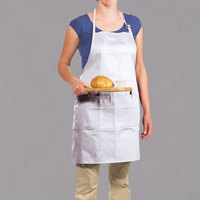 Chef Revival 601BAO-3-WH Customizable Professional Gourmet Full-Length White Bib Apron - 30 inchL x 28 inchW