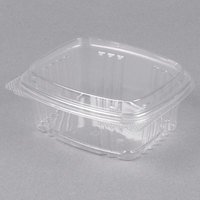 Genpak AD12F 5 3/8 inch x 4 1/2 inch x 2 7/8 inch 12 oz. Clear Hinged Deli Container with High Dome - 100/Pack