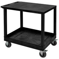 Luxor EC21SP5-B Black 1 Tub and 1 Flat Shelf Utility Cart with 5 inch Casters - 18 inch x 35 1/4 inch x 32 1/2 inch