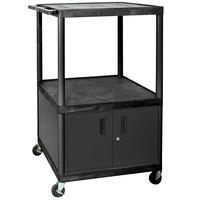 Luxor LE54C-B Black 3 Shelf A/V Cart with Electrical Assembly and Locking Cabinet - 32 inch x 24 inch x 54 1/4 inch