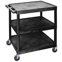 Luxor HE40-B Black 3 Shelf Utility Cart - 32 inch x 24 inch x 41 inch