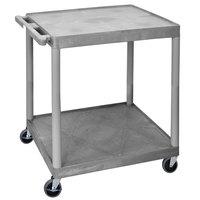 Luxor HE38-G Gray 2 Shelf Utility Cart - 32 inch x 24 inch x 34 inch