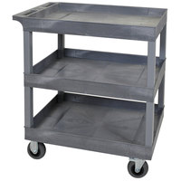 Luxor EC111SP5-G Gray Three Tub Shelf Utility Cart with 5 inch Casters - 18 inch x 35 1/4 inch x 37 1/2 inch