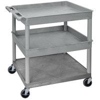 Luxor TC112-G Gray 3 Shelf Utility Cart