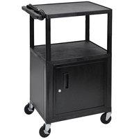 Luxor LE42C-B Black 3 Shelf A/V Cart with Locking Cabinet - 24 inch x 18 inch x 42 inch
