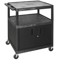 Luxor HE40C-B Black Coffee Cart with Cabinet - 32 inch x 24 inch x 40 1/4 inch