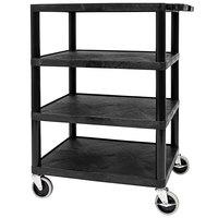 Luxor STC2222-B Black 4 Shelf Utility Cart - 27 inch x 18 inch x 35 3/4 inch