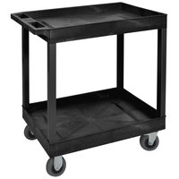 Luxor EC11SP5-B Black Two Tub Shelf Utility Cart with 5 inch Casters - 18 inch x 35 1/4 inch x 35 1/2 inch