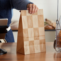Bagcraft Packaging 300286 12 lb. EcoCraft Dubl-Wax® Kraft Bag with Artisan Print   - 500/Case