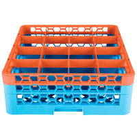 Carlisle RG16-2C412 OptiClean 16 Compartment Orange Color-Coded Glass Rack with 2 Extenders