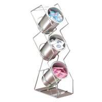 Cal Mil 1025-3-39 Silver 3-Hole Space Saver Wire Silverware Display