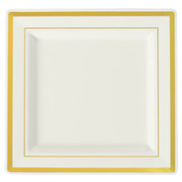 Fineline Silver Splendor 5504-BO 4 1/2 inch Bone/Ivory Plastic Square Plate with Gold Bands - 120/Case