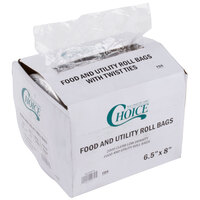 Choice 5 1/2 inch x 8 inch Plastic Food Bag on a Roll - 2000/Case