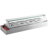 Avantco BMFW4 46 inch Electric Bain Marie Buffet Countertop Food Warmer with 4 Half Size Wells - 1500W, 120V
