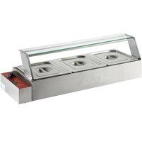 Avantco BMFW3 36 inch Electric Bain Marie Buffet Countertop Food Warmer with 3 Half Size Wells - 1500W, 120V