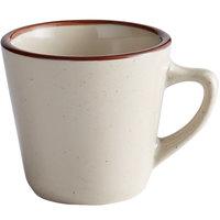Choice 7 oz. Brown Speckle Narrow Rim Stoneware Coffee Cup / Mug - 36/Case