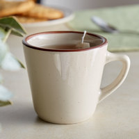 7 oz. Brown Speckle Narrow Rim China Coffee Cup / Mug - 36/Case