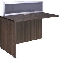 Boss N280G-DW Driftwood Laminate / Plexiglass Reversible Reception Return Desk - 36 inch x 24 inch x 42 1/2 inch