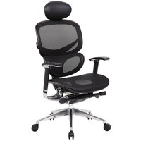 Boss B6888-BK-HR Black Mesh Multi-Function Chair with Head Rest