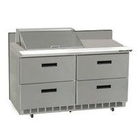 Delfield STD4448N-8 48 inch 4 Drawer Refrigerated Sandwich Prep Table with 4 inch Backsplash