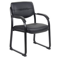 Boss B9519 Black LeatherPlus Sled Base Side Chair with Padded Arms