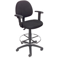 Boss B1616-BK Black Drafting Stool with Footring and Adjustable Arms