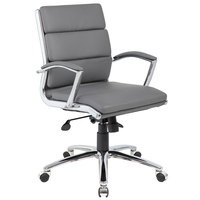 Boss B9476-GY Grey CaressoftPlus Executive Mid-Back Chair