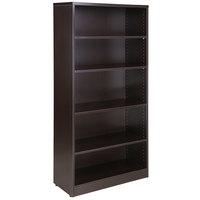 Boss N158-MOC Mocha Laminate 5-Shelf Bookcase - 31 inch x 14 inch x 65 1/2 inch