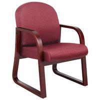 Boss B9570-BY Burgundy Fabric Mahogany Frame Side Chair
