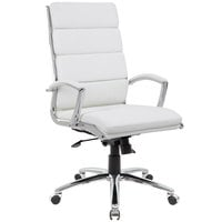 Boss B9471-WT White CaressoftPlus Executive Chair with Metal Chrome Finish