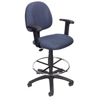 Boss B1616-BE Blue Drafting Stool with Footring and Adjustable Arms