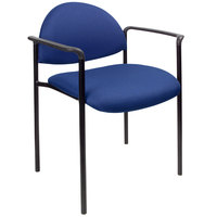 Boss B9501-BE Diamond Blue Stacking Chair with Arms