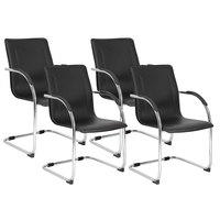 Boss B9530-4 Black Vinyl Side Chair with Chrome Frame - 4/Pack