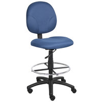 Boss B1690-BE Blue Fabric Drafting Stool with Footring