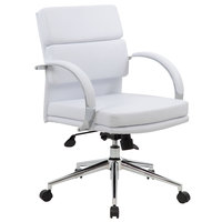 Boss B9406-WT White CaressoftPlus Mid Back Executive Chair
