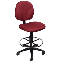 Boss B1690-BY Burgundy Fabric Drafting Stool with Footring