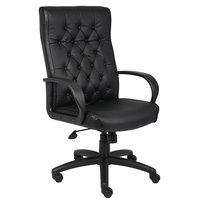 Boss B8502-BK Black Button Tufted Executive Chair with Knee Tilt