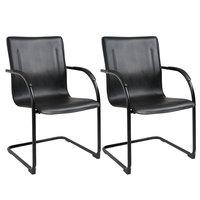 Boss B9535-2 Black Vinyl Side Chair with Black Frame - 2/Pack
