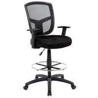 Boss B16021 Black Contract Mesh Drafting Stool with Footring