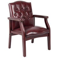 Boss B959-BY Ivy League Burgundy Oxblood Vinyl Executive Guest Chair with Mahogany Finish