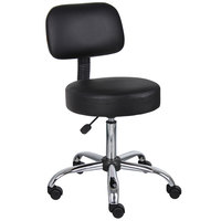 Boss Office B245-BK Black Be Well Medical Professional Adjustable Stool with Back