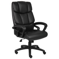 Boss B8702 Black Top Grain Leather Executive Chair with Knee Tilt