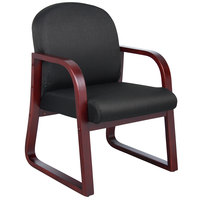 Boss B9570-BK Black Fabric Mahogany Frame Side Chair