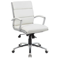 Boss B9476-WT White CaressoftPlus Executive Mid-Back Chair