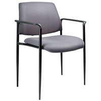 Boss B9503-GY Diamond Grey Square Back Stacking Chair with Arms