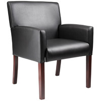 Boss B629M Black Box Arm Chair with Mahogany Finish