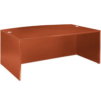 Boss N189-C Cherry Laminate Bow Front Desk Shell - 71 inch x 41 inch x 29 inch
