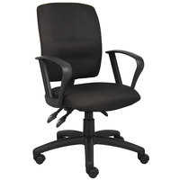 Boss B3037-BK Black Fabric Multi-Function Task Chair with Loop Arms