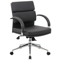 Boss B9406-BK Black CaressoftPlus Mid Back Executive Chair